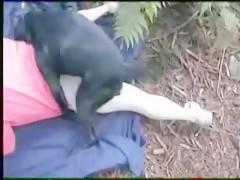 Ella esta muy caliente con su perro