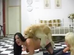 Mi amiga y yo con el perro